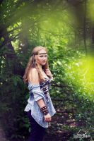 portrait of girl in forest by BirdSophieBlack