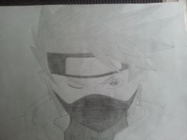 Kakashi with his Magekyo-Sharingan (monochrome) by Kopy-Ninja-Deviant
