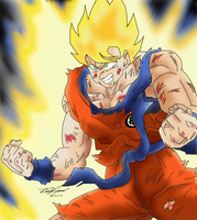 Beat up goku digital coloring by gokujr96