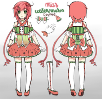 miss watermelon (suika) reference sheet 2 by Saphirya