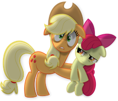 Applejack and Apple Bloom by Psyxofthoros