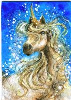 Contemplative - Unicorn ACEO by BlackAngel-Diana