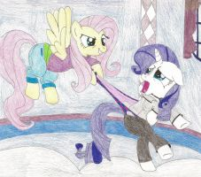 Request - Fluttershy wedgies Rarity by wjmmovieman