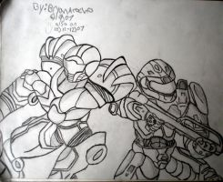 samus aran and master chief by BryanRocco
