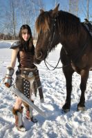 Dragonborn and Her Horse 2 by cloudstrife597