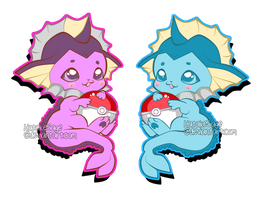 Chibi Vaporeons by HoneyDoodles