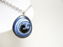 Black Cat Crescent Moon Pendant Necklace by sobeyondthis