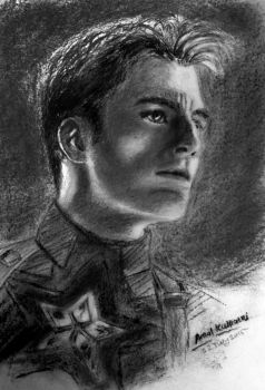 Captain America Chris Evans Charcoal Drawing by amolkulkarni107