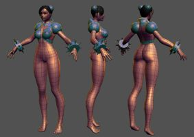Cyber Chun Li - WIP 1 by HazardousArts