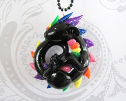 Sleeping Rainbow Dragon Pendant by DragonsAndBeasties