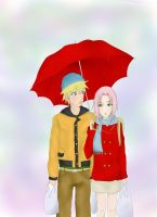 NaruSaku: Under the rain by lavs684