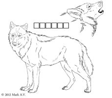 Free wolf ref lineart by ER-Reanimator