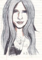 Avril Lavigne 2004  in pen by DarkGirlDrawings