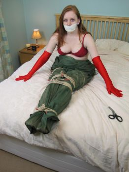 Karina in Red Elbow Length Opera Gloves by BritBastard