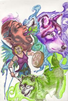 Kellianna and her Wolves by Chochuschuvio