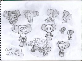 Designs of Robotboy and his friends and OCs by claudinei230
