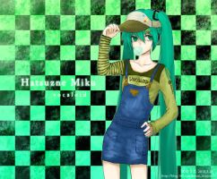 miku with cricket-cap by zoinxzoin