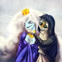 Adventure Time: Ice Queen and Gunter by NIARKAN