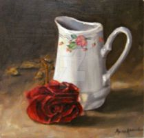 White jug and a rose by MunaMahmoud