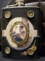 Steampunk flask with lady by Justenjoyinglife