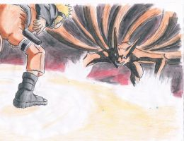 Naruto fight the Kyubi by samui153