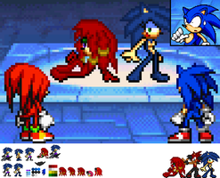 sonic and knuckles meet sonya and knuxia by phoenixTH14