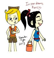 Rancis and Vanellope in Beach Attire by sailorlovesong
