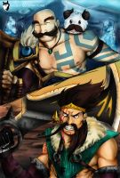 Draven y Braum - Duo BOT by HuskyIllustrations
