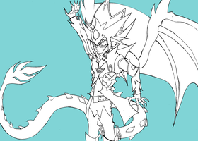 Slifer Gijinka - Osiris Battle Armor -Free Lineart by DeadlyObsession
