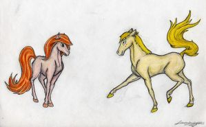 Kim and Ron as horses by Dannys-angel