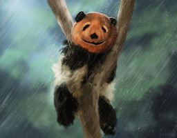 Panda Pumpkin head by Montjart