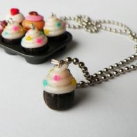 Candyland Cupcake Necklace by AsianBunni