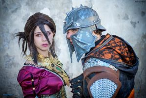 Morrigan and the Inquisitor cosplay by Achico-Xion