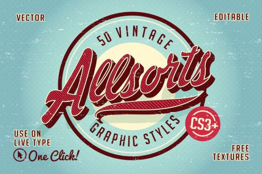Vintage Allsorts Graphic Styles for Illustrator by designdell