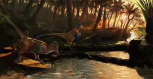 Sunset on a Cretaceous River by Rhynn