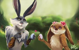 Bunnymund and Kari by KatRoart