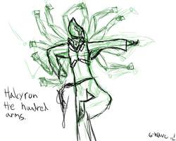 Halcyron The Hundred Fists :Concept 1: by Gwaveproductions