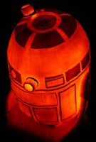 R2D2 Pumpkin back view by NoelDickover