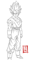 Vegetto Pose Lineart by SnaKou
