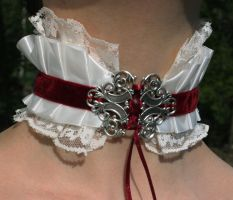 Emilie Autumn style White-burgundy version by Pinkabsinthe
