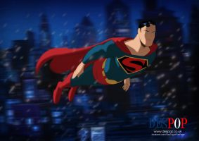 Superman in Snowy Metropolis by DESPOP
