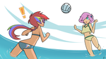 Volleyball Dash and Shy by red-poni