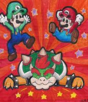 Mario and Luigi battling Bowser by BabyAbbieStar