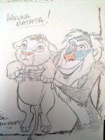 Baby Simba and Rafiki sketch by tombancroft