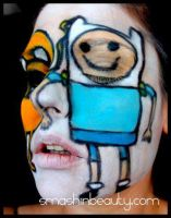 Adventure Time Face Paint by smashinbeauty