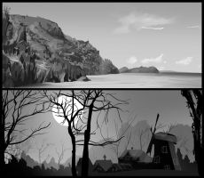 Day 9 Landscape b/w practice by Oeasis