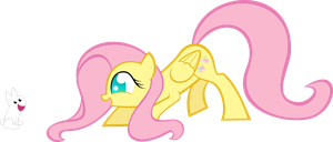 Fluttershy and a bunny by KalleFlaxx