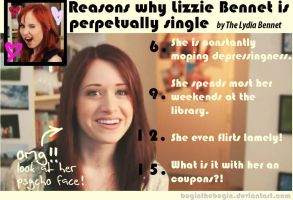 Lizzie Bennet is perpetually single by beginthebegin