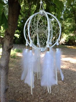 White and Gold Triple DreamCatcher by Evaron