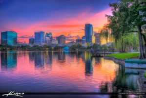 Orlando-Lake-Eola-Florida-Downtown-Buildings by CaptainKimo